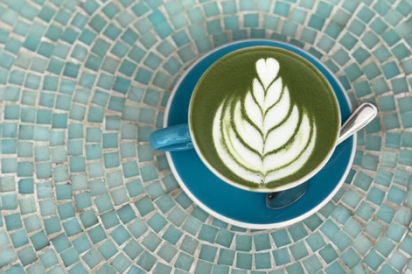 Matcha green tea latte at First Village Coffee in Ossining.