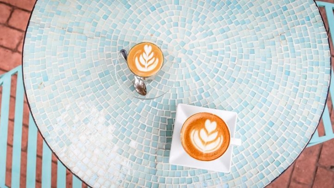 Lattes at First Village Coffee in Ossining New York