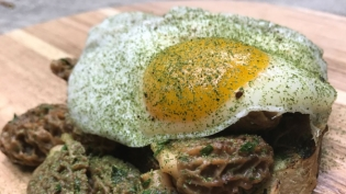 Morel Toast with Sunny-Side-Up Duck Egg and Ramp or Garlic Mustard Butter